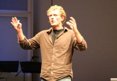 Jonathan Harris waving hands